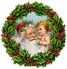 "Santa Claus and baby in Christmas Wreath - a circa 1909 vintage illustration. Your purchased prints & downloads will NOT have ""Victorian Traditions"" watermark."