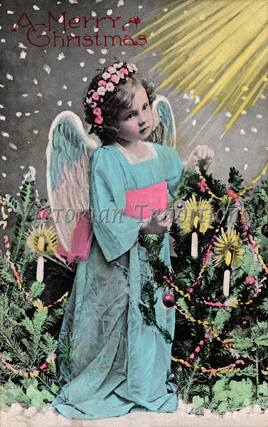 """Christmas angel - a 1916 hand-tinted photo. Your purchased prints & downloads will NOT have """"Victorian Traditions"""" watermark."""