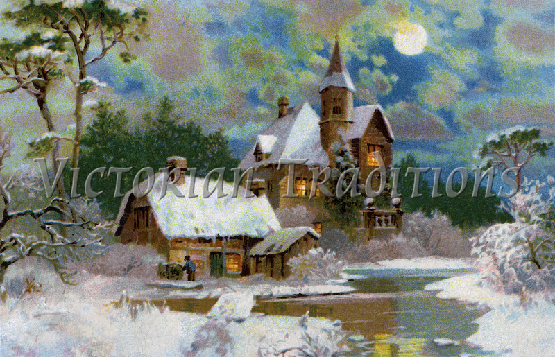 "A Peaceful Winter Scenic - a 1907 vintage Christmas illustration. Your purchased prints & downloads will NOT have ""Victorian Traditions"" watermark."