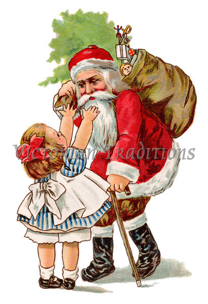 Little girl reaching to give Santa Claus a hug - a circa 1910 vintage greeting card illustration.
