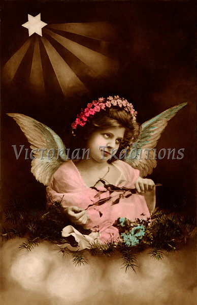 "Christmas angel - a 1912 hand-tinted photo. Your purchased prints & downloads will NOT have ""Victorian Traditions"" watermark."