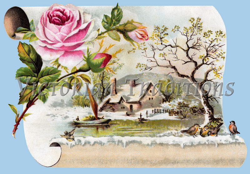 Winter Scenic - a circa 1890 vintage greeting card illustration