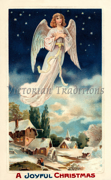 "Christmas angel - a 1911 vintage greeting card illustration. Your purchased prints & downloads will NOT have ""Victorian Traditions"" watermark."