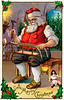 """A vintage Christmas illustration of Santa Claus building a sleigh - circa 1890 (licensed from the Nancy Rosin Collection). Your purchased prints & downloads will NOT have """"Victorian Traditions"""" watermark."""