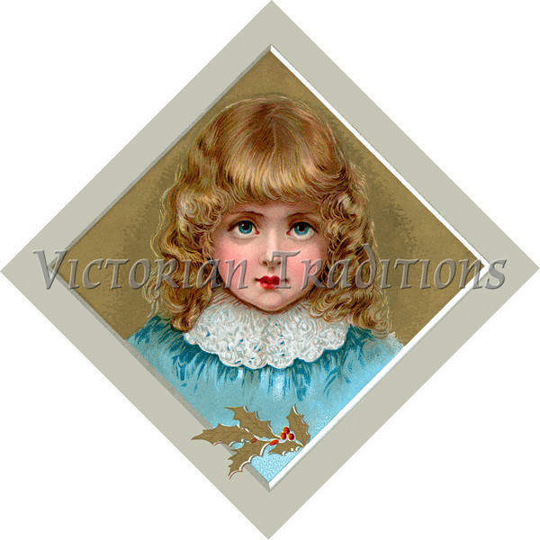 "A vintage Christmas illustration of a young girl - circa 1890 (licensed from the Nancy Rosin Collection). Your purchased prints & downloads will NOT have ""Victorian Traditions"" watermark."