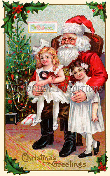 """A 1911 vintage Christmas illustration of little girls sitting on Santa Claus' lap on Xmas Eve (licensed from the Nancy Rosin Collection). Your purchased prints & downloads will NOT have """"Victorian Traditions"""" watermark."""