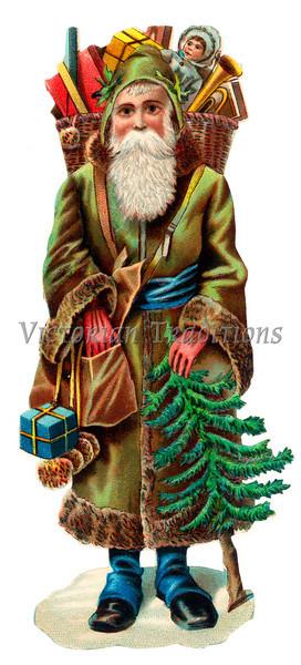 "Saint Nicholas, the original ""Santa Claus"" - a circa 1890 vintage illustration."