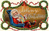 'Merry Christmas' - Santa Claus blows a Christmas greeting from his pipe smoke - a circa 1909 vintage greeting card illustration (largest image is 9mb - 2250 x 1408 pixels)