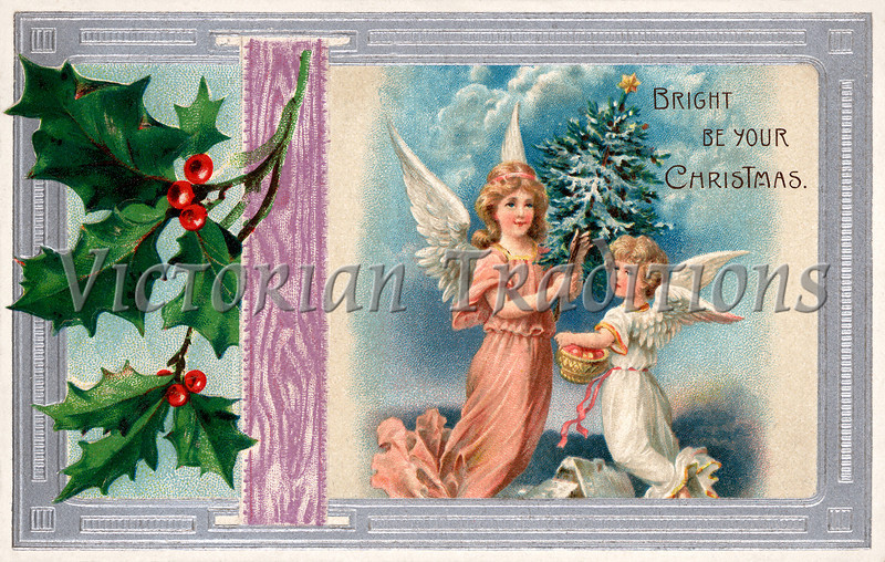 """Christmas angels - a 1910 vintage greeting card illustration. Your purchased prints & downloads will NOT have """"Victorian Traditions"""" watermark."""