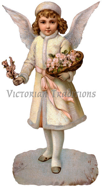 A Victorian Christmas illustration of a child guardian angel - circa 1890 (licensed from the Nancy Rosin Collection)