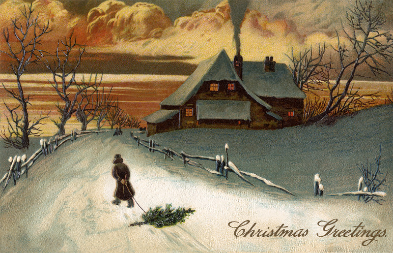 As the sun sets, a father drags home a fresh-cut Christmas tree along the snowy road to his home in the country -- a 1909 Vintage greeting card.