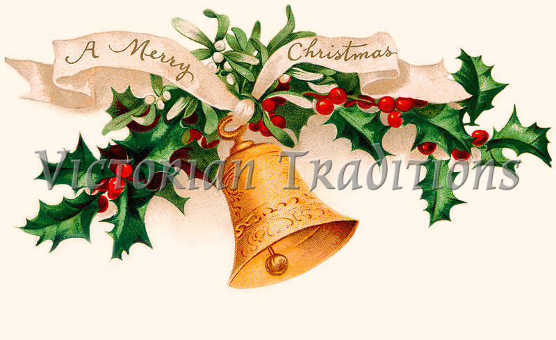 "'A Merry Christmas' - Holly and Bell - circa 1915 vintage greeting card illustration. Your purchased prints & downloads will NOT have ""Victorian Traditions"" watermark."