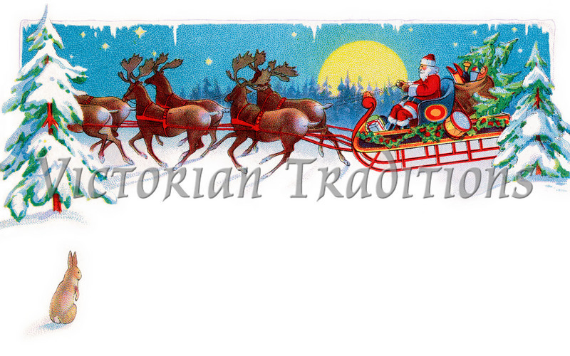 "A rabbit watches Santa, reindeer and sleigh on Christmas Eve - circa 1915 illustration. Your purchased prints & downloads will NOT have ""Victorian Traditions"" watermark."