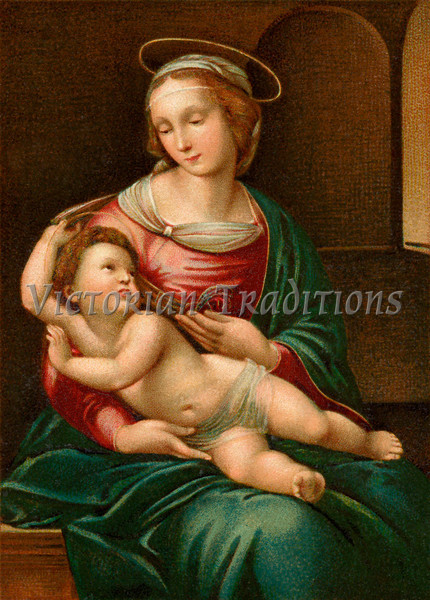 """Madona and Christ child - an early 1900's vintage greeting card illustration - reproduced from an old classic. Your purchased prints & downloads will NOT have """"Victorian Traditions"""" watermark."""