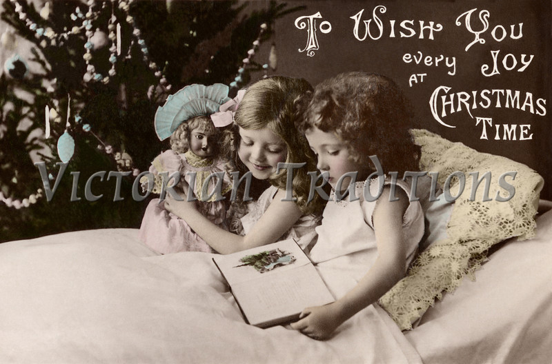 "Two little girls reading a bettime story - a 1909 vintage hand-tinted photo greeting card. Your purchased prints & downloads will NOT have ""Victorian Traditions"" watermark."