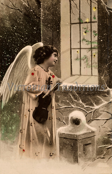 """Christmas angel - a 1906 hand-tinted photo. Your purchased prints & downloads will NOT have """"Victorian Traditions"""" watermark."""