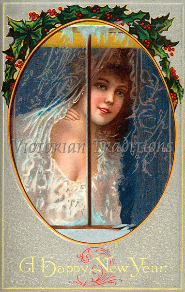 """""""A Happy New Year"""" - a circa 1911 vintage greeting card illustration - woman in nightgown looking through frosty window. Your purchased prints & downloads will NOT have """"Victorian Traditions"""" watermark."""