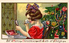"Little girl grooming and applying makeup for Christmas party - a circa 1910 vintage greeting card illustration. Your purchased prints & downloads will NOT have ""Victorian Traditions"" watermark."