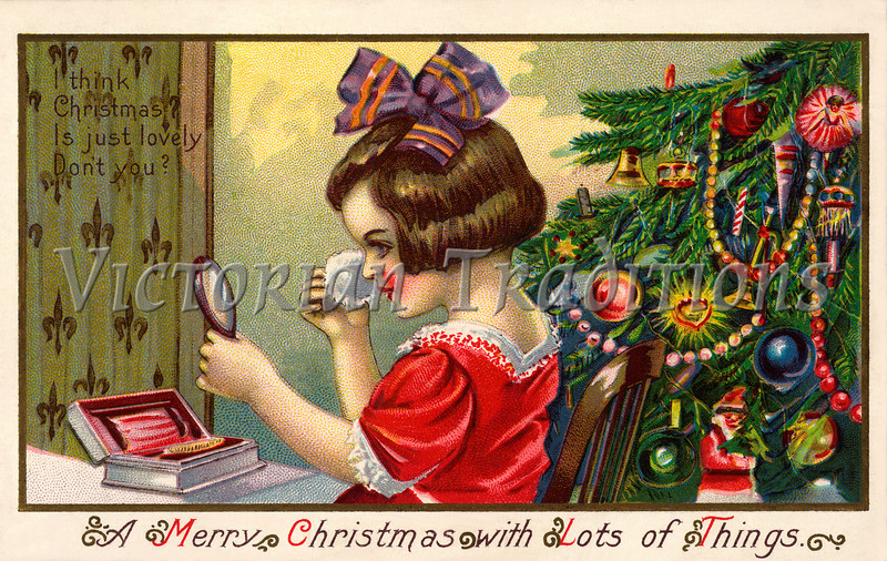 """Little girl grooming and applying makeup for Christmas party - a circa 1910 vintage greeting card illustration. Your purchased prints & downloads will NOT have """"Victorian Traditions"""" watermark."""