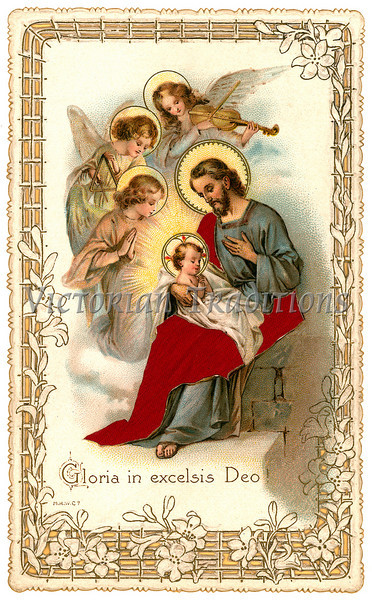 A vintage Christmas nativity greeting card with angels - circa 1898 (licensed from the Nancy Rosin Collection)