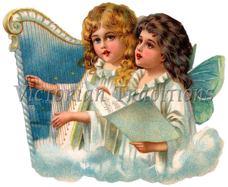 """A vintage illustration of little angels singing - circa 1890 (licensed from the Nancy Rosin Collection). Your purchased prints & downloads will NOT have """"Victorian Traditions"""" watermark."""