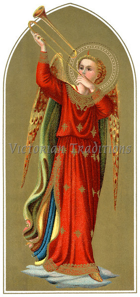 "A vintage Byzantine style Christmas illustration of a angel blowing a trumpet - circa 1890 (licensed from the Nancy Rosin Collection). Your purchased prints & downloads will NOT have ""Victorian Traditions"" watermark."