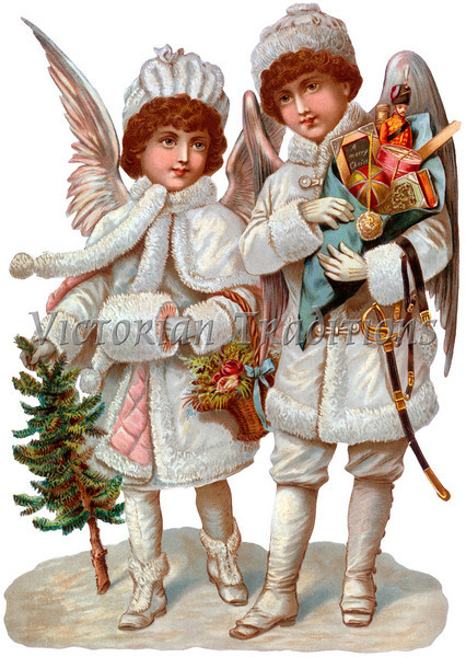 """A Victorian illustration of Christmas angels with gifts - circa 1890 (licensed from the Nancy Rosin Collection). Your purchased prints & downloads will NOT have """"Victorian Traditions"""" watermark."""