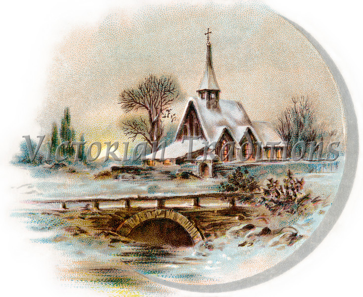 "Snowy Chapel Scene, like ''Currier & Ives'' - circa 1890 vintage illustration. Your purchased prints & downloads will NOT have ""Victorian Traditions"" watermark. See our <a href=""http://www.OldPixels.com/"">Old Pictures</a> website for more vintage images.  (To purchase prints or downloads, click on the ""Buy"" or shopping cart button above the image; then choose ""This Photo"", followed by clicking on the 'Prints', 'Merchandise', or 'Downloads' tab.)"