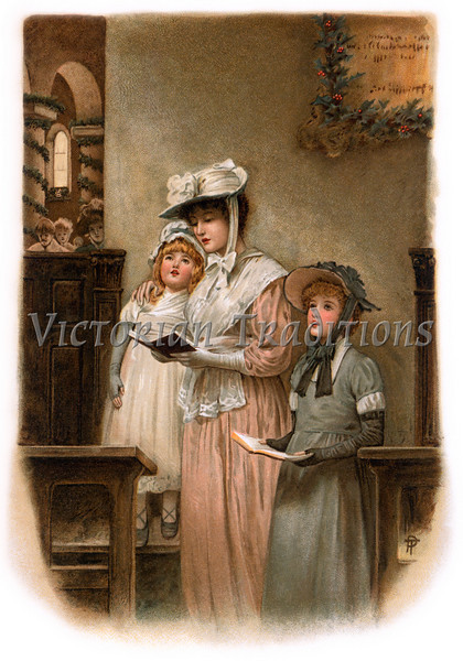 Mother and daughters worshipping in church on Christmas eve - a circa 1899 vintage illustration