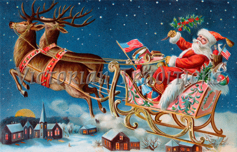 """Santa and his sleigh flying above a sleepy village on Christmas eve - a 1906 vintage illustration. Your purchased prints & downloads will NOT have """"Victorian Traditions"""" watermark."""