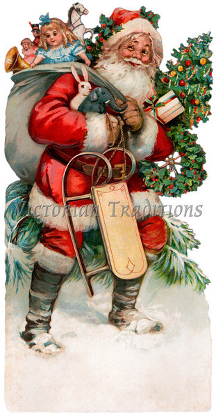 """A vintage Christmas illustration of Santa Claus with a bag of gifts - circa 1890 (licensed from the Nancy Rosin Collection). Your purchased prints & downloads will NOT have """"Victorian Traditions"""" watermark."""