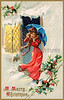 A woman venturing outside on a snowy, blustery Christmas eve - a circa 1912 vintage greeting card illustration
