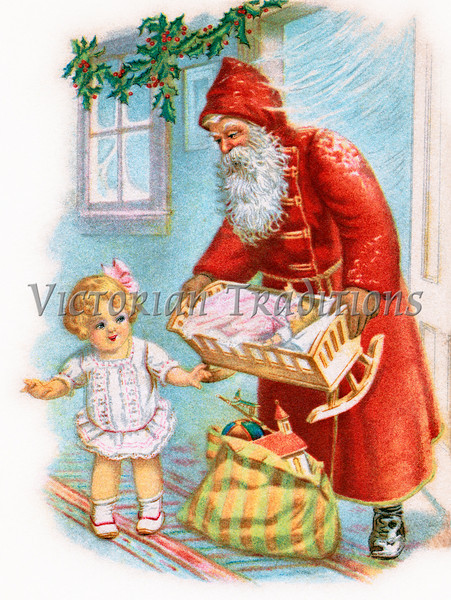 """Santa Claus remembers little girl - a 1917 vintage illustration. Your purchased prints & downloads will NOT have """"Victorian Traditions"""" watermark."""