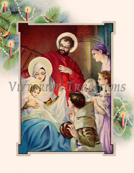 """Nativity scene framed with Christmas tree boughs - a circa 1907 vintage illustration. Your purchased prints & downloads will NOT have """"Victorian Traditions"""" watermark."""