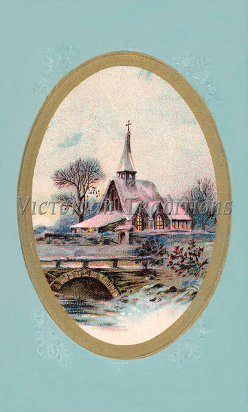 """Winter Christmas Scene - a 1910 'Currier and Ives' type vintage greeting card illustration. Your purchased prints & downloads will NOT have """"Victorian Traditions"""" watermark."""
