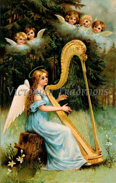 "Christmas angel - a 1919 vintage illustration. Note: largest ""Original"" size download of this image is 7Mb (2.3 Mpix) or 1200 x 1894 pixels. Your purchased prints & downloads will NOT have ""Victorian Traditions"" watermark."