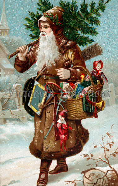 "A vintage Christmas illustration of Father Christmas with a bag of gifts - circa 1890 (licensed from the Nancy Rosin Collection). Your purchased prints & downloads will NOT have ""Victorian Traditions"" watermark."