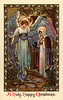 The Annunciation - Angel Gabriel appearing to Mary - a 1910 vintage Christmas greeting card illustration