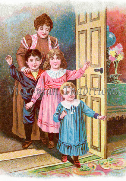 Children entering a room, excited and happy - a circa 1902 vintage illustration