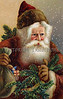 A Fatherly Santa Claus on a snowy Christmas eve - A Victorian illustration