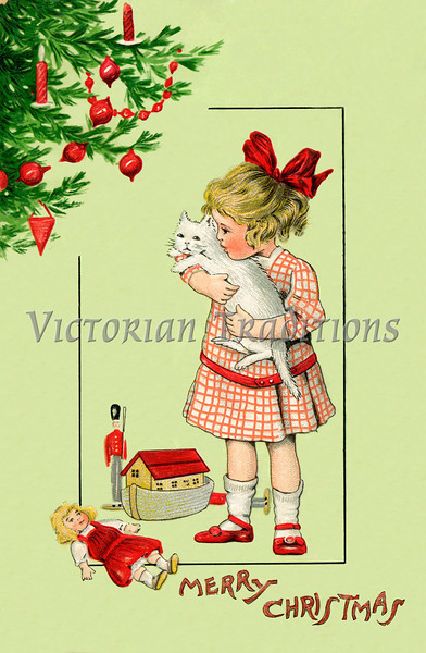 Christmas Morning - a circa 1910 vintage greeting card illustration.
