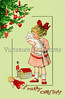 Christmas Morning - a circa 1910 vintage greeting card illustration.