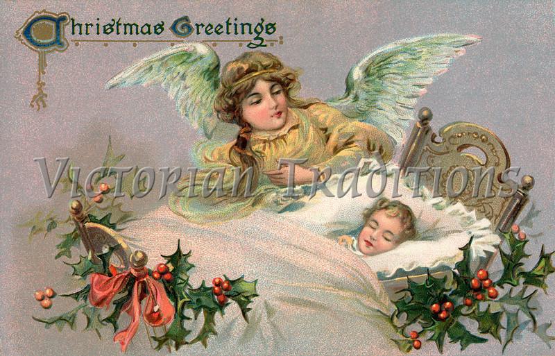 Christmas angel - a 1910 vintage greeting card illustration
