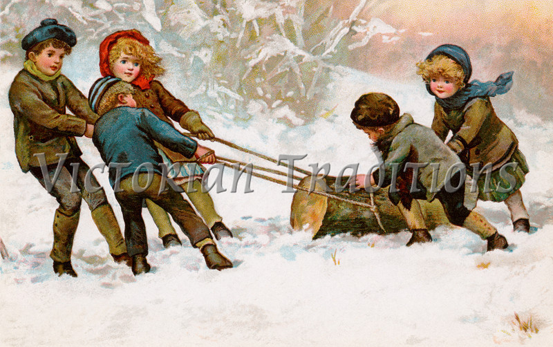 "Children dragging home a Christmas Yule Log - a circa 1911 vintage illustration. Your purchased prints & downloads will NOT have ""Victorian Traditions"" watermark."
