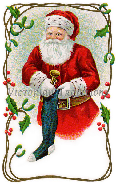 """Santa Claus filling stocking - holly & mistletoe border - a 1914 vintage illustration. Your purchased prints & downloads will NOT have """"Victorian Traditions"""" watermark."""