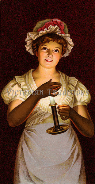Young woman illuminated by candle light - an early 1900's vintage illustration