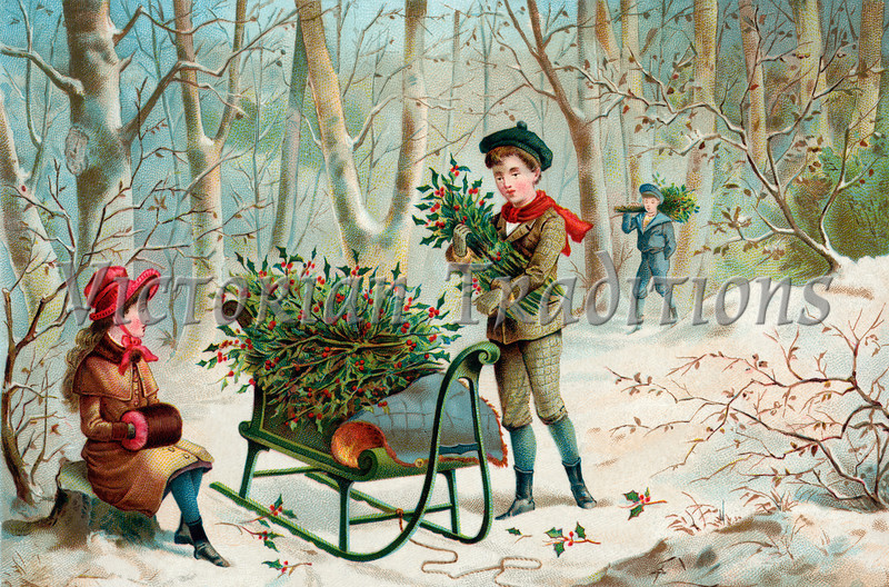 "Gathering Christmas Holly - an early 1900's vintage 'Currier and Ives' type illustration Your purchased prints & downloads will NOT have ""Victorian Traditions"" watermark."