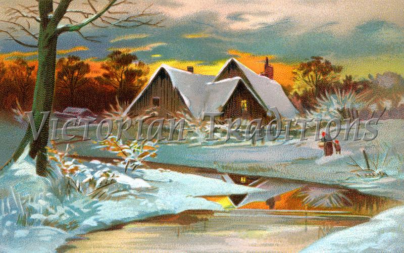 A Pastoral Winter Scenic - a circa 1910 vintage illustration