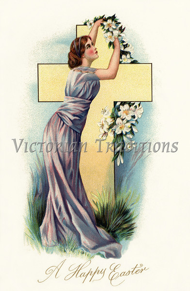 Victorian Era woman embracing an Easter cross draped with lilies - a vintage greeting card illustration, circa 1910