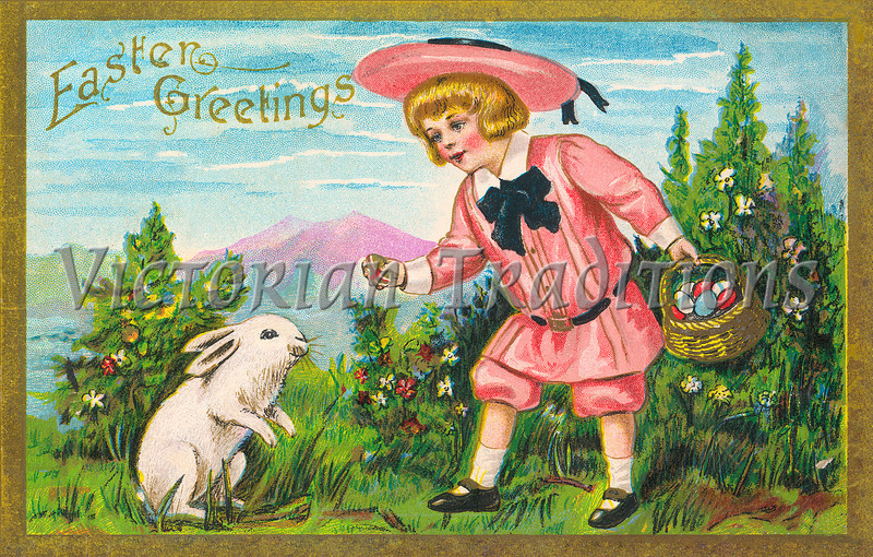 Little girl giving an Easter egg to a bunny - a Victorian greeting card illustration, circa 1910